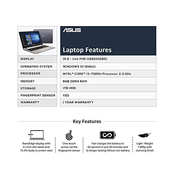 ASUS X507 ( Core i3-7th Gen /8 GB/ 1TB HDD / 15 6