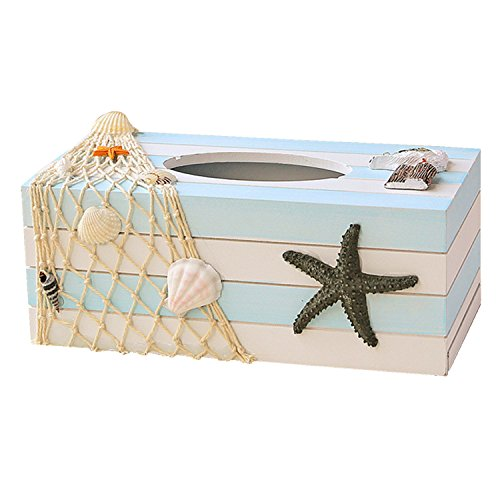 Eonyea Wood Tissue Box Cover Shell Fishnet Beach Pumping Tray Tissue Holders (Starfish)