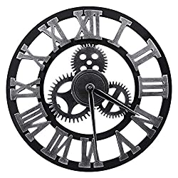 "Lucky Monet Large 3D Gear Roman Numeral Wall Clock Antique Wall Clock Retro Round Clock Art Wheel for Living Room, Kitchen, Restaurant, Coffee Shop Décor (23"", Sliver)"