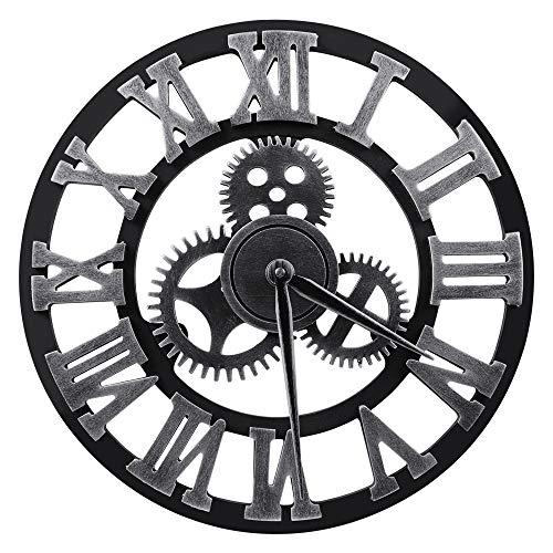 "(Lucky Monet Large 3D Gear Roman Numeral Wall Clock Antique Wall Clock Retro Round Clock Art Wheel for Living Room, Kitchen, Restaurant, Coffee Shop Décor (12"", Sliver))"