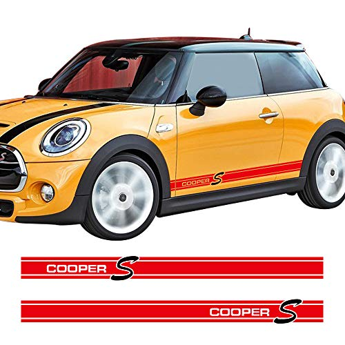 Charminghorse 2Pieces Side Skirt Coopers Graphics Racing Stripes Decal Stickers for Mini Cooper S R56 R57 R58 R50 R52 R53 R59 F55 F56 (Gloss Red)