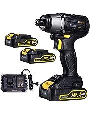 Atornillador de Impacto, TECCPO Brushless 220Nm Atornillador Bateria 18V, 2 Bateria de 2.0Ah, 30 min Cargador Rapido, 6.35mm Mandril de metal Autoblocante