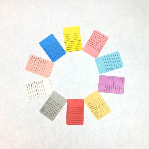 """New 1000 Pcs 1-1/4""""×1-7/8"""" Mix 10 Colors Two-part Perforated Price Coupon Tag Clothing Price Labels Paper Tag Mark Sticker"""