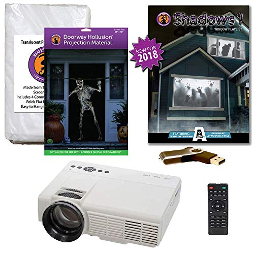 Halloween Window Projection Kit Includes 1200 Lumen Projector, 2 High Resolution Projection Screens (R/D) and AtmosFEARFx Shadows Compilation on USB -