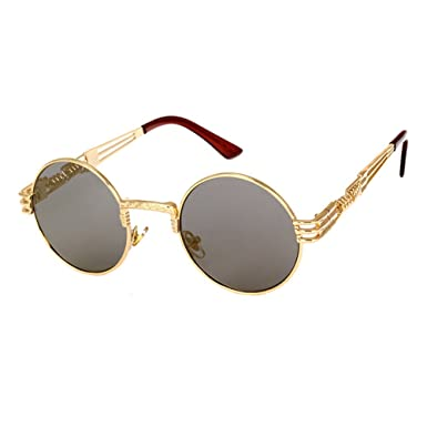 Highdas M¨¦tal Lunettes de soleil Femmes Hommes Vintage Retro Round  Sunglass Steampunk Coating 6dcbdf579454