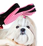 CEESC Pet Shedding Grooming Brush Glove, Hair Remover and Massage Tool for Pets (Red) (Red)