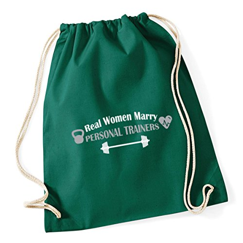 12 Personal Trainers Bag Gym Women Marry School Green x Sack Kid Real Cotton litres 46cm Bottle HippoWarehouse 37cm Drawstring wqAxZAC