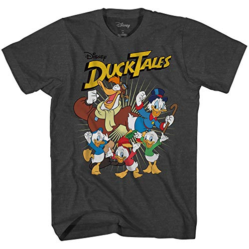 Disney Ducktales Team Duck Tales Men's T-Shirt (Heather Charcoal,XXXL)