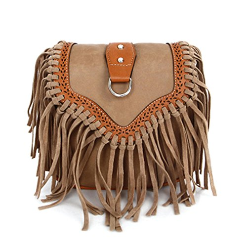 Body Retro Saddle Tassel Holiday Style Women Top Mini Hippy Flap Bag Handbag with Purse Cross Khaki Bag Festival for RtqAWqxFw