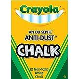 Crayola Nontoxic Anti-Dust Chalk, White, 12 Sticks/Box (50-1402)