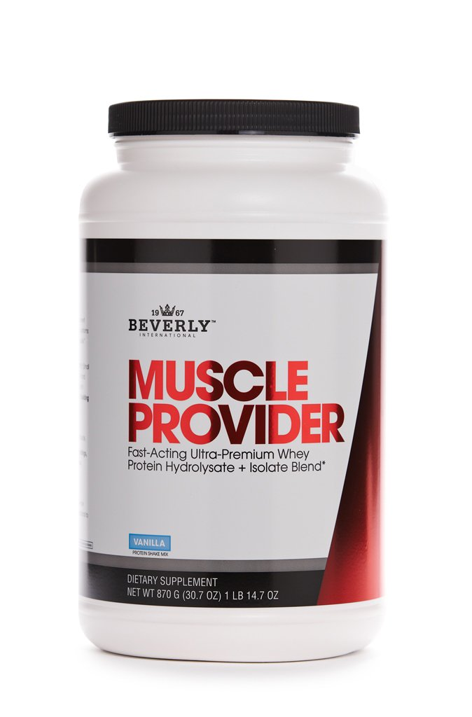 Beverly International Muscle Provider Protein Powder 30 servings, Vanilla. 10X-Strength whey protein hydrolysate-isolate for rapid lean muscle repair and growth. Easy bloat-free digestion.