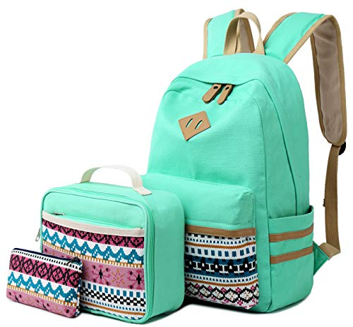 CAMTOP Backpack for School Girls Teens Bookbag Set Canvas School Laptop Bag Lunch Box Pencil Case (Mint Green)