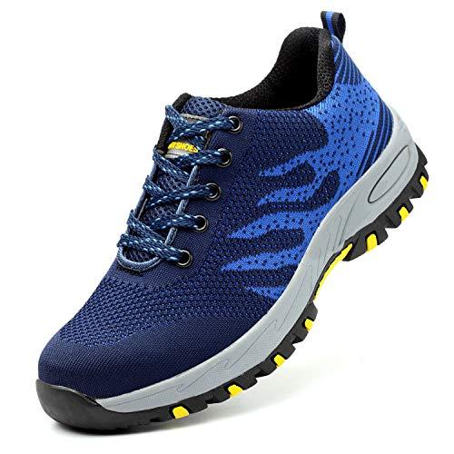 JACKSHIBO Steel Toe Shoes Men Women, Work Safety Shoes Breathable Industrial Construction ()