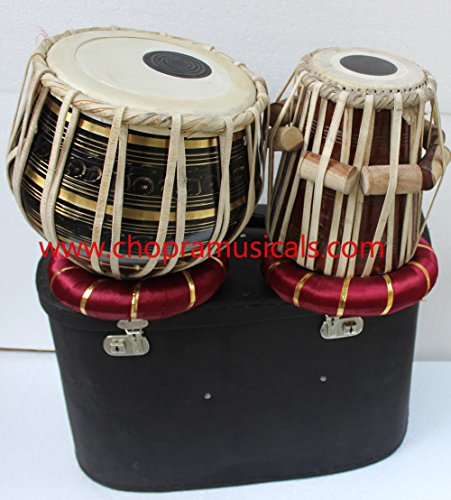 Chopra Tabla Drum Set, Pro Brass Colored Bayan, Best Dayan with, Hammer, Cushions & Box by Chopra