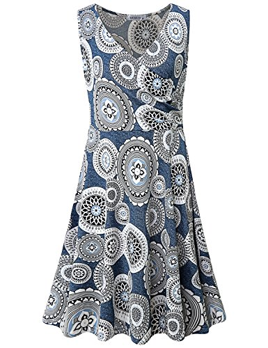 (MOQIVGI Summer Dresses for Women,Ladies Special Occasion Cute Fashion Fit and Flare Slim Wedding Guest Tropical Day V-Neck Faux Wrap Trapeze Sleeveless Tank Dress Blue Medium)