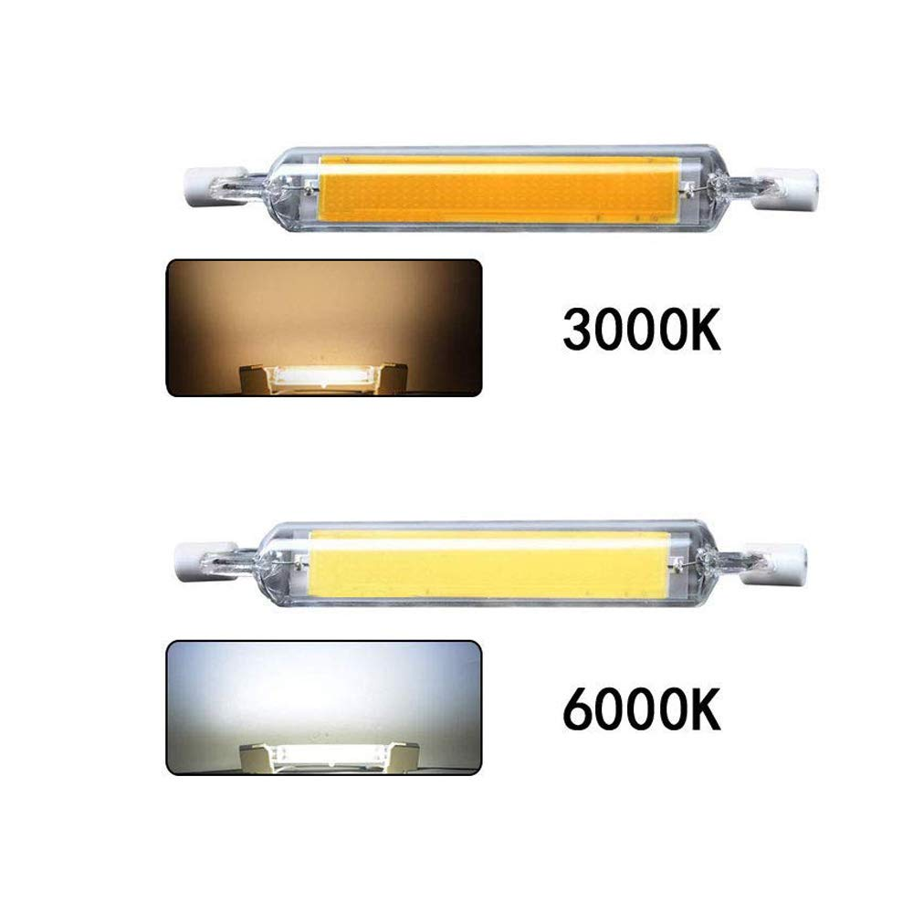 Konesky Bombillas de luz LED R7S regulables 2pcs L/ámpara de mazorca LED regulable Bombilla AC 230V L/ámpara hal/ógena de repuesto Blanco fr/ío, 10W