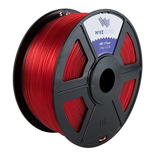 WYZworks ABS 1.75mm [ Translucent RED ] Premium 3D Printer Filament - Dimensional Accuracy +/- 0.05mm 1kg / 2.2lb + [ Multiple Color Options Available -