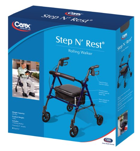 Carex Step 'N Rest Rollator, Rolling Walker with Padded Seat and Backrest, Adjustable Handles with Locking Handbrakes, Weight Capacity of 250 lbs. by Carex Health Brands (Image #1)