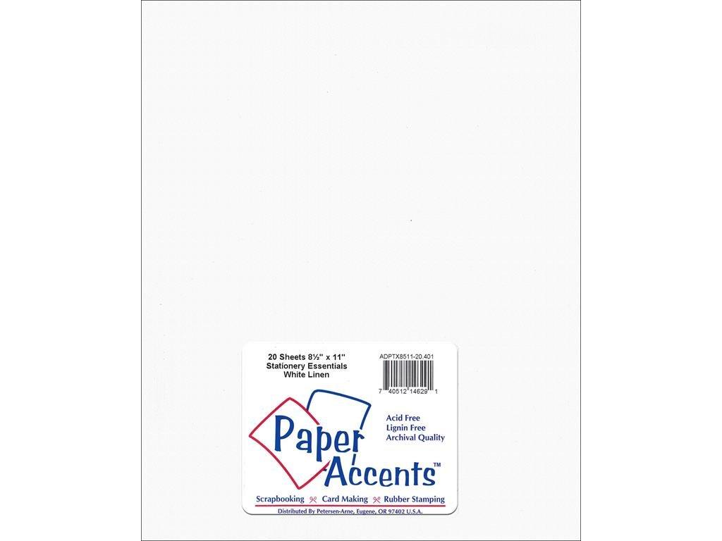Accent Design Paper Accents ADPTX8511-20.401 Lite Stock 8.5x11 Linen White Cardstock