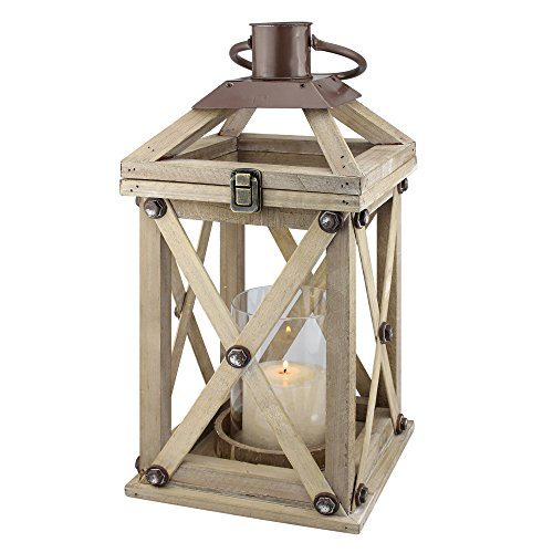 Stonebriar 20 Inch Rustic Wooden Candle Lantern with Removable Glass Cylinder Hurricane, For Table Top or Hanging Display, Indoor or Outdoor Use, Large