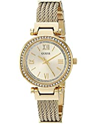 GUESS Womens Stainless Steel Casual Wire Bangle Bracelet Watch, Color: Gold-Tone (Model: U1009L2)