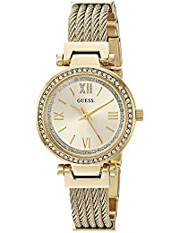 Gold-Tone Stainless Steel Wire Bangle Bracelet Watch, Color: Gold-Tone (Model: U1009L2)