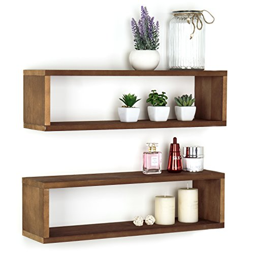 MyGift Natural Wood Finish Wood Wall Mounted 24-Inch Floating Shelf, Rectangular Display Shadow Boxes, Set of 2 by MyGift