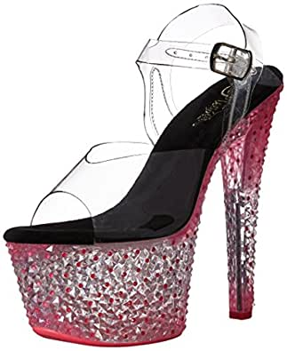 pleaser Womens Cytl308ps/c/nhp Cytl308ps/C/Nhp Transparent Size: 12 US / 12 AU Clear/Pink