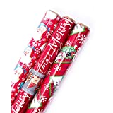Hallmark Reversible Christmas Wrapping Paper Bundle, Santa (Pack of 3, 120 sq. ft. TTL.)