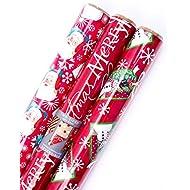 Hallmark Reversible Christmas Wrapping Paper Bundle, Santa (Pack of 3, 120 sq. ft. ttl.)