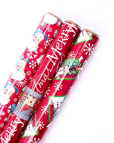Hallmark Christmas Reversible Wrapping Paper (Santa, 3 (Holiday Reversible Gift Wrap)