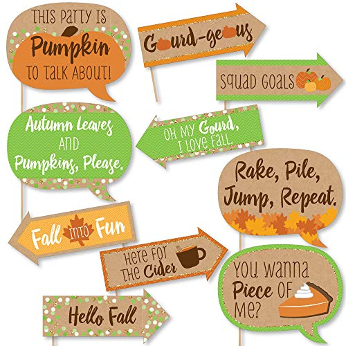 Funny Pumpkin Patch - Fall & Thanksgiving Party Photo Booth Props Kit - 10 Piece
