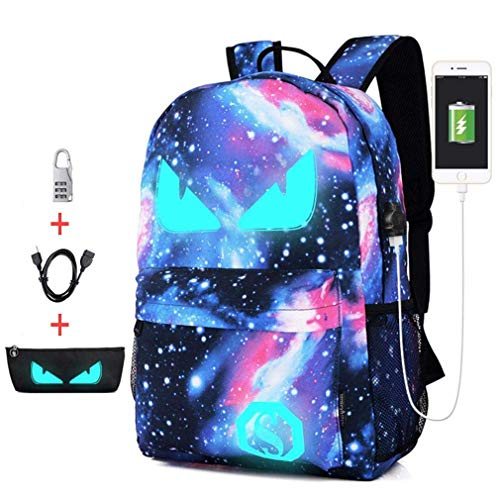 Backpack Unisex Casual Sports Travel Schoolbag USB&Pencil Case Glow in Dark for Kids Adults