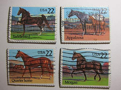 Horse Postage - Horse Magnets Postage Stamp Set of 4 Fridge Magnets Item#J66
