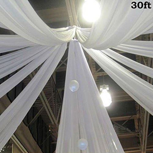BalsaCircle White 30 feet Long Premium Sheer Voile Ceiling Draping Panel - Wedding Ceremony Party Home - Ceiling Wedding Draping