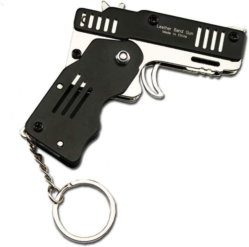 Rubber Band Gun Mini Metal Folding 6-Shot with Keychain and Rubber Band 100pcs