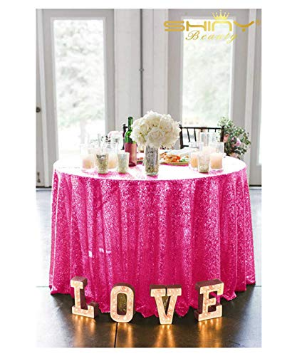 (Sequins Table Cloth 72'' Fushia Tablecloth Round Sequin Table Cover Hot Pink Twinkle Twinkle Little Star Decorations)