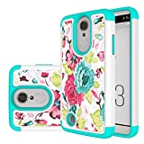 LG Aristo Case, LG Fortune Case, LG Phoenix 3 Case, LG Risio 2 Case, LUXCA Shock Proof Hybrid Dual Layer Ultimate Protective Back Cover with Screen Protector and Stylus (Rainbow Rose)