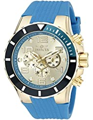 Invicta Mens 18740 Pro Diver 18k Gold Ion-Plated Watch with Blue Silicone Band