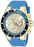 Invicta Men's 18740 Pro Diver 18k Gold Ion-Plated Watch with Blue Silicone Band