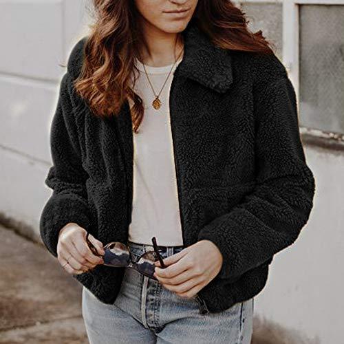 TnaIolr Women Warm Coat Ladies Winter Casual Warm Jacket Solid Zipper Coat Overcoat Outerwear -