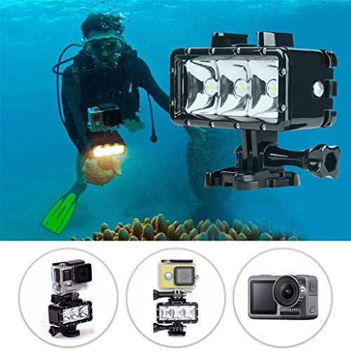 Fullwei 40m Waterproof 3LED Diving Fill Light 300LM Underwater Flashlight for DJI Osmo Action for Gopro Hero 7 6 5 Action Video Cameras Accessories (black)
