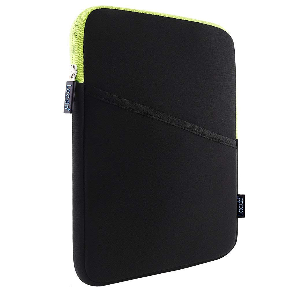 Lacdo Shockproof Tablet Sleeve Case for 11 inch New iPad Pro 2018 | iPad Pro 10.5 inch | 9.7 inch New iPad | iPad Air 2 | Samsung Galaxy Tab 10.1 Protective Bag, fit Apple Smart Keyboard Green/Black