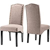 Merax Fabric Dining Chairs Script Fabric Accent Chair with Solid Wood Legs, Light Brown