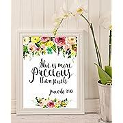 She is more precious than jewels - Baby girl nursery Wall Art - Girl nursery wall décor - floral housewarming gift - Nursery Wall Art - kids wall décor - Nursery decor