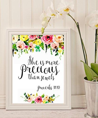 She is more precious than jewels - Baby girl nursery Wall Art - Girl nursery wall décor - floral housewarming gift - Nursery Wall Art - kids wall décor - Nursery decor (Hall Floral Print)