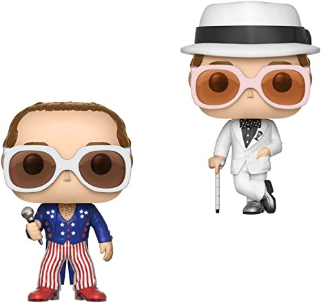 bianco e blu glitter esclusivo 63 SCATOLA DANNEGGIATA Funko POP VINILE Elton John rosso