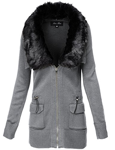 Fur Trim Long Sleeve Sweater Knit Utility Jackets