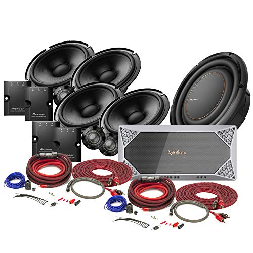 "Pioneer TSZ65CX2 6-1/2"" Component Speaker System + TSD10LS2 10"" subwoofer + REF4555A 5-ch Amp and 4 Gauge Amplifier Power Wiring Kit and RCA Wire Bundle"