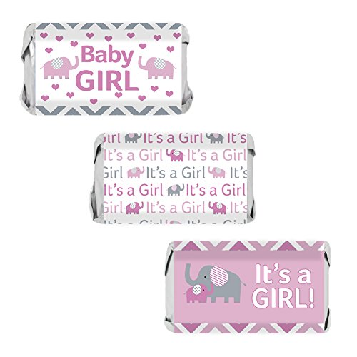 Pink and Gray Elephant Baby Girl Shower Miniatures Candy Bar Wrapper Stickers (Set of 54) Theme Candy Wrappers